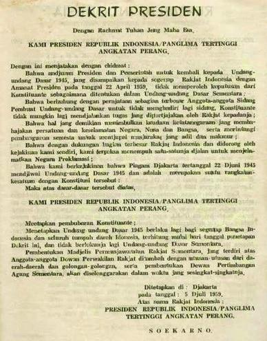 isi dekrit presiden 5 juli 1959